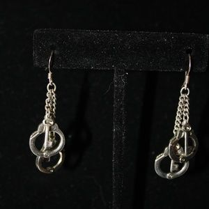 Sterling Silver Handcuffs with Key Earrings